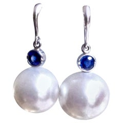 South Sea Pearl and Blue Sapphire Drop Earrings