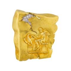 SeidenGang 18 Karat Yellow Gold Diamond Brooch Pin Odyssey Collection