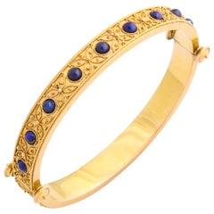 Antique Victorian Fine Etruscan Revival Lapis Bracelet