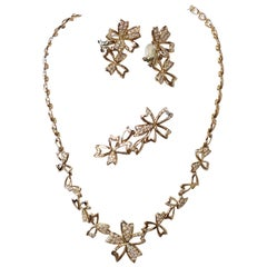 White Diamond Modern Floral Necklace, Brooch, and Earrings Set in 18k Rose Gold