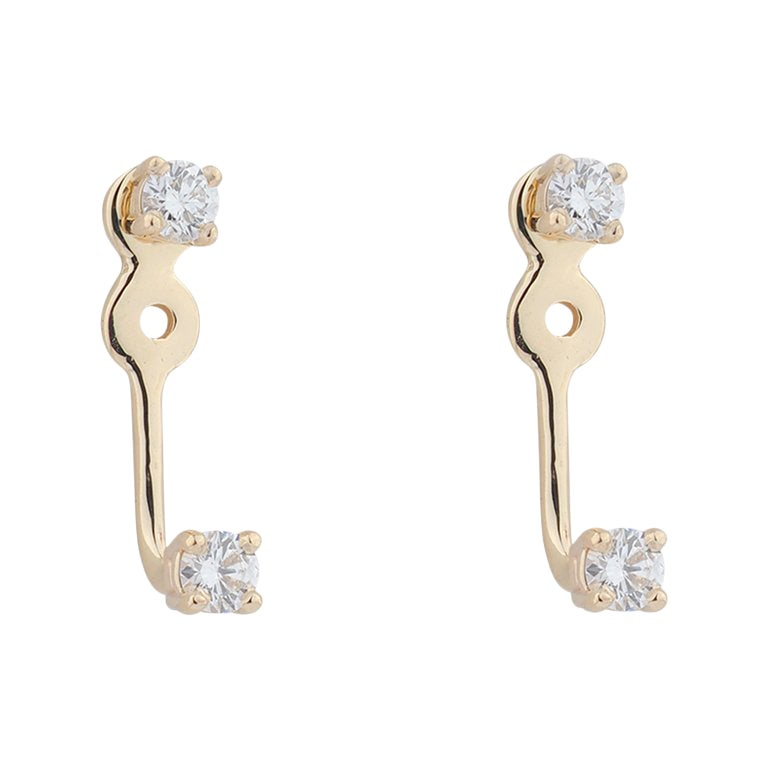Yellow Gold Diamond Stud and Ear Jacket Earrings