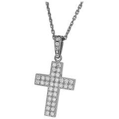 Cartier Diamond 18 Karat White Gold Cross Pendant Necklace
