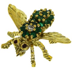 Tiffany & Co. Diamond Emerald Ruby 18 Karat Yellow Gold Bee Brooch