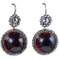 Antique Georgian Cabochon Red Paste Earrings Cut Steel Silver, circa 1830