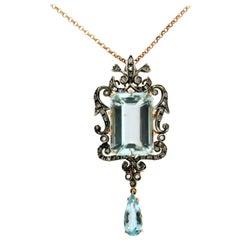 Brazilian Aquamarine 14 Karat Yellow and White Gold Diamonds Pendant Necklace