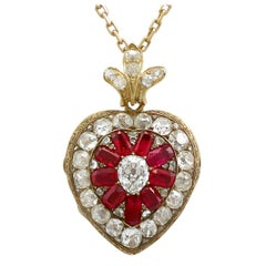 Antique Victorian Synthetic Ruby 4.55 Carats Diamonds Gold Pendant Locket
