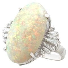Vintage 7.39 Carat Opal & Diamond Platinum Cocktail Ring Circa 1960