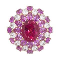 White Diamond Rubellite 18 Karat Rose Gold Ballerina Cocktail Ring