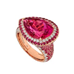 Rose Gold White Diamonds Mozambican Rubies and Rubellites Cocktail Ring