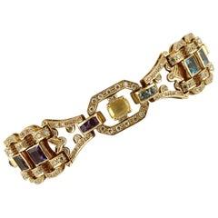 Diamonds, Topazes, Amethysts, Peridot, Tourmaline, Rose Gold Retro Bracelet