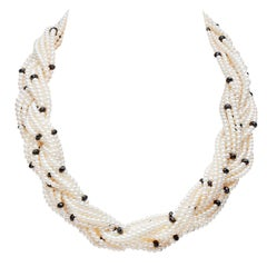 Yoko London Freshwater Pearl and Black Spinel Necklace, in 18 Karat White Gold
