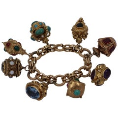 Yellow Gold Italian Charm Bracelet