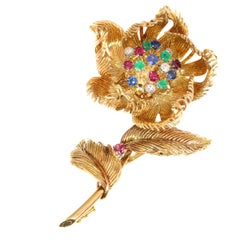 Signed Cartier Vintage Trembleuse Brooch Moveable Flower That Opens or Closes