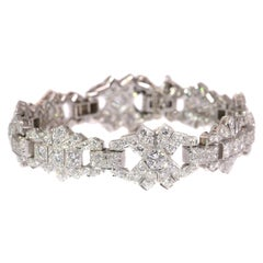 Vintage Platinum 12 Carat Diamond Bracelet, Art Deco Style Made in the 1950s