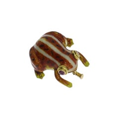 Enamel Ruby 14 Carat Gold Frog Brooch