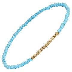 14 Karat Gold and Vintage Turquoise Beaded Bracelet