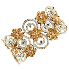 Diamonds, Blue&Yellow Sapphires,White&Rose Gold Flowery and Circles Bracelet