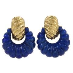 David Webb Gold and Lapis Hoop Earrings