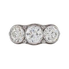 Three-Stone Platinum Ring with Diamonds