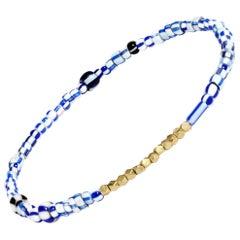 14 Karat Gold and Vintage Blue Mix Beaded Bracelet by Allison Bryan