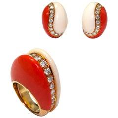 Van Cleef & Arpels Coral Earrings And Ring Set