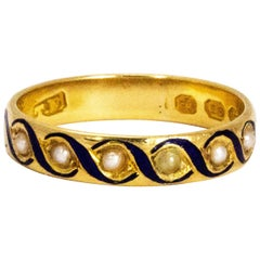 Early Victorian Pearl and Blue Enamel 18 Carat Gold Band