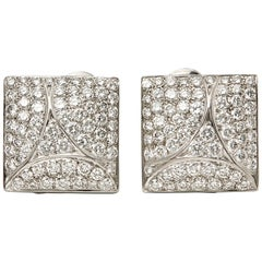 Cartier 18 Karat White Gold Round Cut Diamond Square Berlingot Earrings