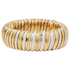 Bulgari 18 Karat White & Yellow Gold Large Flexible Link Bangle