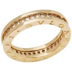 Bulgari 18 Karat Yellow Gold Round Cut Diamond B.Zero 1 Band Ring