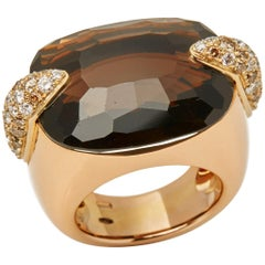Pomellato 18 Karat Yellow Gold Smoky Quartz & Diamond Cocktail Ring
