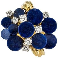 1970s Lapis Lazuli Diamonds Modernist Ring