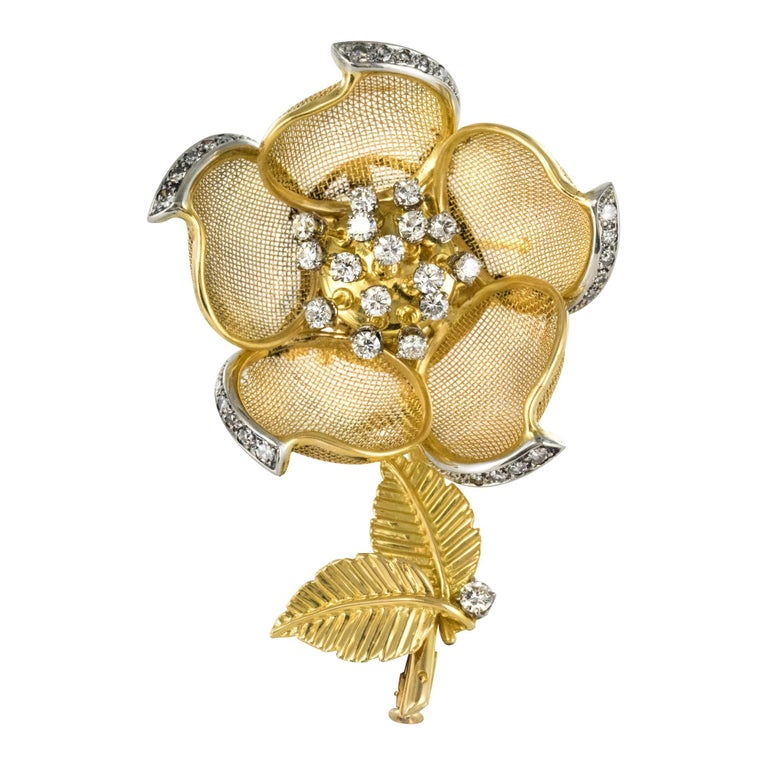 1960s French Retro Rose Shape Articulated Diamond Yellow Gold Brooch For Sale