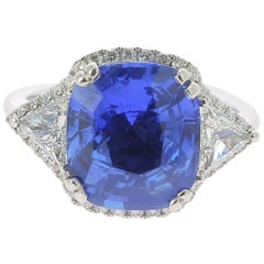 7.16 Carat Ceylon Intense Blue Sapphire Cocktail Ring Set with Round Diamond