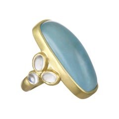 Faye Kim 18 Karat Gold Large Milky Aquamarine and Moonstone Ring