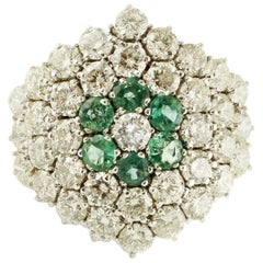 Diamonds, Emerald Flower, 14 Karat White Gold Cluster Ring
