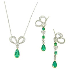 Edwardian Belle Époque Emerald Diamonds Gold Earrings Necklace