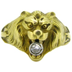 Antique Art Nouveau Yellow Gold Platinum Diamond Lion Head Ring