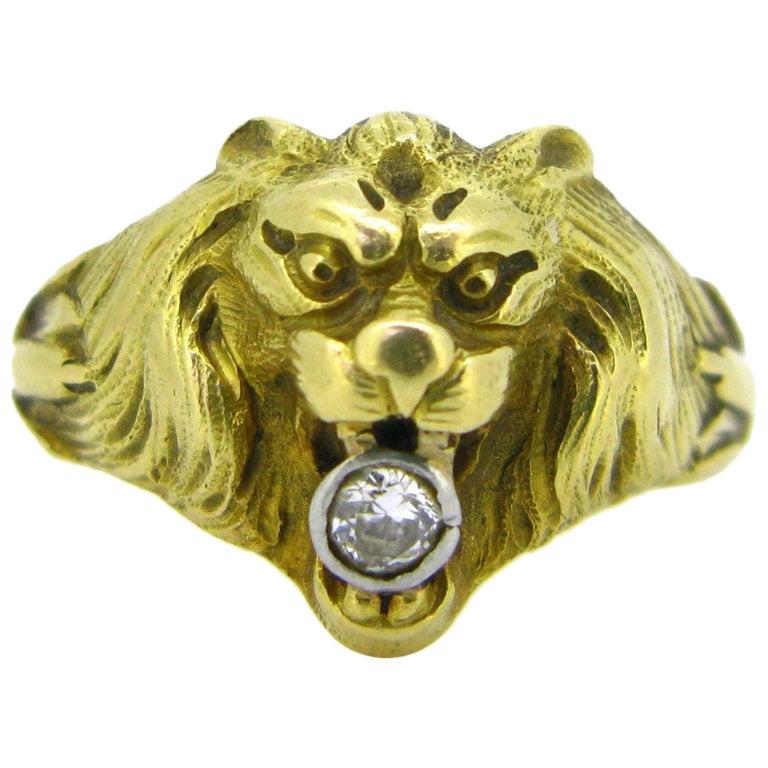 Antique Art Nouveau Yellow Gold Platinum Diamond Lion Head Ring For Sale