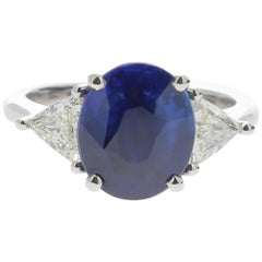 4.50 Carat Ceylon Intense Blue Sapphire Cocktail Ring Set with Triangle Diamond