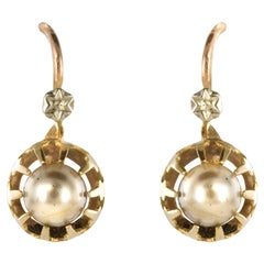 1900s Cultured Pearls Yellow Gold Sleepers Earrings