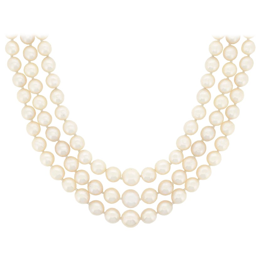Art Deco Three-Row Pearl Necklace with Diamond Clasp, circa 1920s