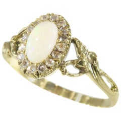 French Antique Art Nouveau Gold Ring with Diamonds and Opal