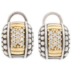 Lagos Caviar 18 Karat Yellow Gold and Sterling Silver Diamond Earrings