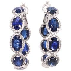 Ruchi New York Oval Blue Sapphire And Diamond Hoop Earrings