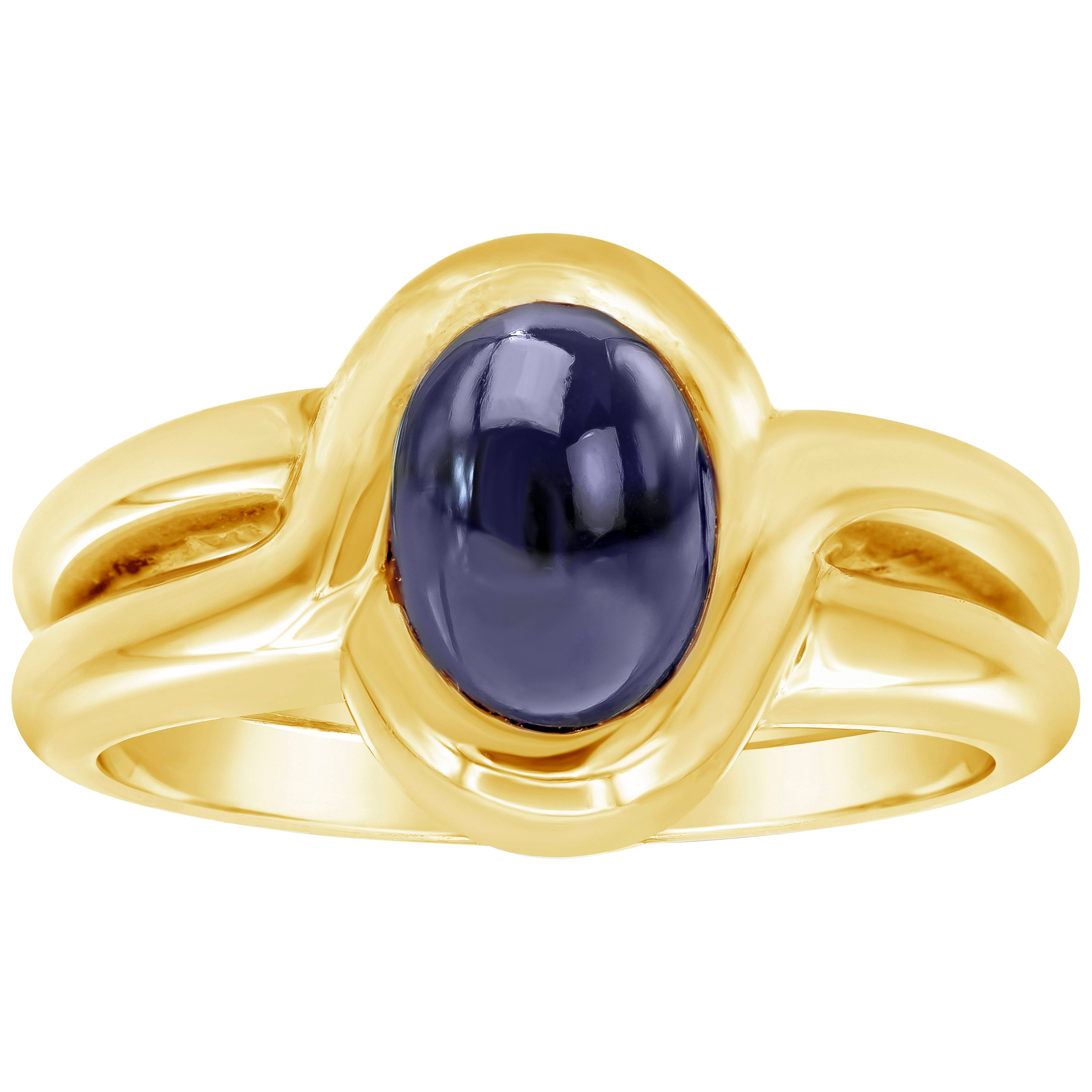Oval Cut Cabochon Sapphire Yellow Gold Double Shank Ring