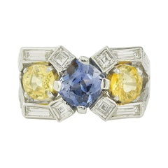 Art Deco Mauboussin Platinum Non Heated Blue & Yellow Sapphires & diamonds Ring