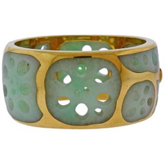 Tiffany & Co. Angela Cummings Lotus Root Jade Gold Bracelet