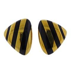 Angela Cummings Inlay Black Jade Gold Earrings