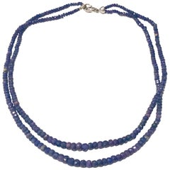 Blue Sapphire Faceted 2-Strand Necklace with 18 Karat Gold Clasp with Diamonds