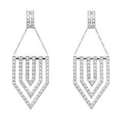 1.50 Carat Diamond Chandelier Earrings 18 Karat White Gold